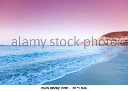 Agua Amarga beach in the evening light, Cabo de Gata national park, Province Almeria, Andalucia, Spain - Stock Photo