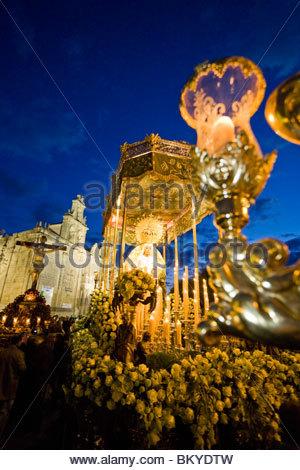 Semana Santa, holy week in Ubeda, Plaza de Vazquez de Molina, Province Jaen, Andalucia, Spain - Stock Photo