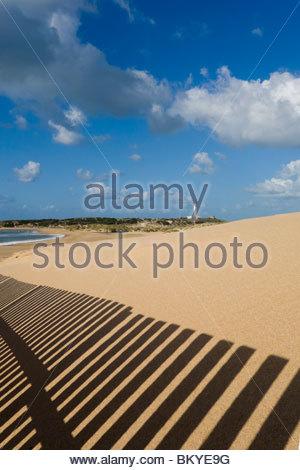 Sand dunes around the lighthouse at Cabo de Trafalgar, Province Cadiz, Andalucia, Spain - Stock Photo