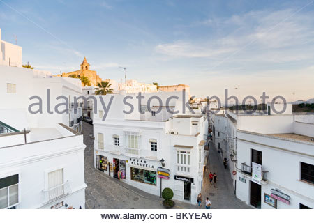 White village Vejer de la Frontera, pueblo blanca, Province Cadiz, Andalucia, Spain - Stock Photo