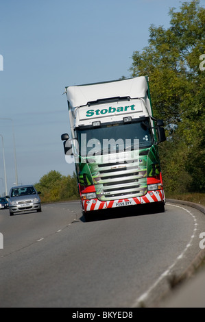 Eddie Stobart Scania lorry travelling on a dual carriageway in England - Stock Photo