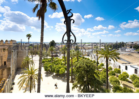View from the tower of Alcazaba in Jerez de la Frontera towards the old town, Andalucia, Province Cadiz, Spain - Stock Photo