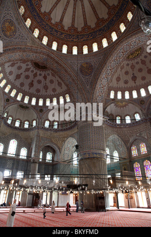 Interior of the Sultan Ahmed Mosque or The Blue Mosque in Istanbul, Turkey. - Stock Photo
