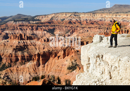 Hiker, Spectra Point, Cedar Breaks National Monument, Dixie National Forest, Brian Head, Utah, USA - Stock Photo
