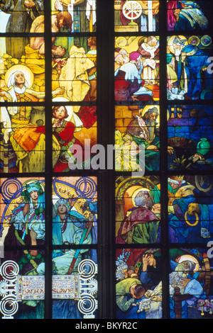 Stained Glass Window by Alphonse Mucha,  (1860-1939),  Czech Republic,  Prague,  Saint Vitus Cathedral - Stock Photo