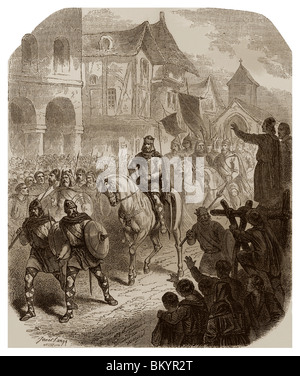 In 732, triumphal entrance of Charles Martel, in Paris, further to his victory during the Battle of Tours. - Stock Photo