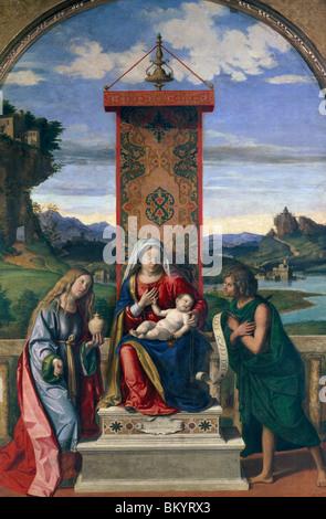 Virgin and Child with Saint John the Baptist and Mary Magdalene by Giovanni Battista Cima da Conegliano  (Circa - Stock Photo