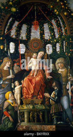 Virgin and Child Surrounded by six saints and Gianfrancesco II Gonzaga  or Madonna of Victory by Andrea Mantegna - Stock Photo