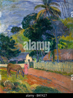 Landscape: Horse on road by Paul Gauguin,  (1848-1903),  Russia,  Moscow,  Pushkins Museum of Fine Arts - Stock Photo