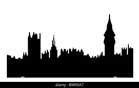 Black silhouette of Houses of Parliament or Palace of Westminster, London, England. Isolated on white background. - Stock Photo
