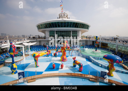 H2O Zone Pool & Fountains on Deck 11, Freedom of the Seas Cruise Ship, Royal Caribbean International Cruise Line - Stock Photo