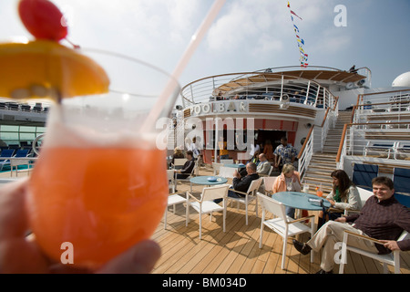 Planters Punch at Pool Bar on Deck 11, Freedom of the Seas Cruise Ship, Royal Caribbean International Cruise Line - Stock Photo