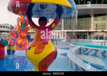 Colorful Water Fountains in H2O Zone Pool Area on Deck 11, Freedom of the Seas Cruise Ship, Royal Caribbean International - Stock Photo