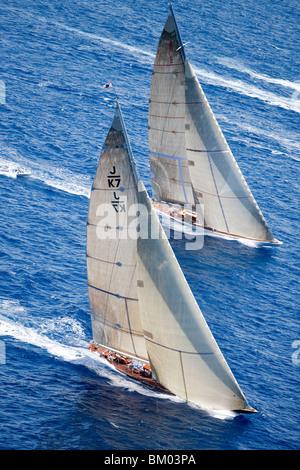 Aerial Photo of J-Class Cutters, Velsheda and Ranger, Antigua Classic Yacht Regatta, Antigua - Stock Photo
