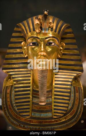 King Tutankhamun Golden Funeral Mask, Eqyptian National Museum, Cairo, Egypt - Stock Photo
