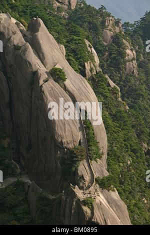 stone stairs to Jade Screen Peak, Huang Shan, Anhui province, stone steps, stairway to heaven, World Heritage, UNESCO, - Stock Photo