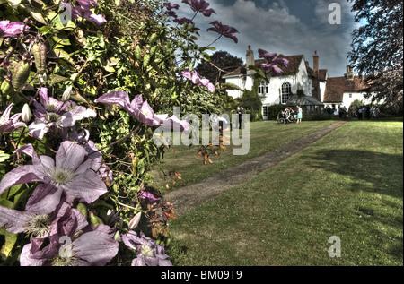 Summer garden wedding reception with clematis flowering in Suffolk England - Stock Photo