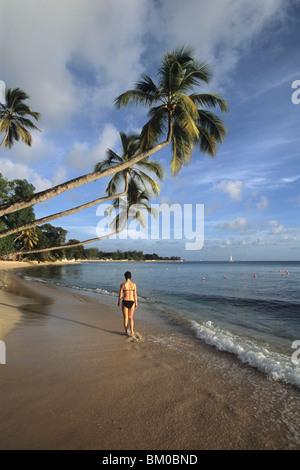 Woman Strolling Along Beach, Turtle Beach, Near Mullins Bay, St. Peter, Barbados, Carribean - Stock Photo