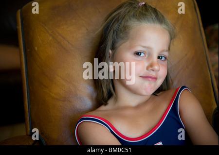 portrait of little smiling girl - Stock Photo