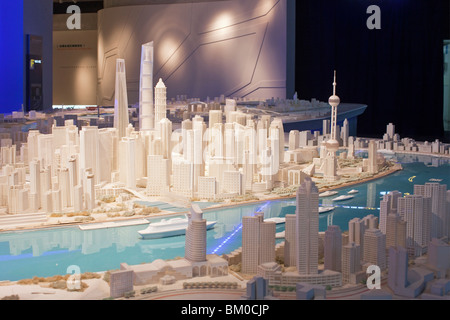 Model of the Expo 2010 site at urban planning museum, Shanghai, China, Asia - Stock Photo