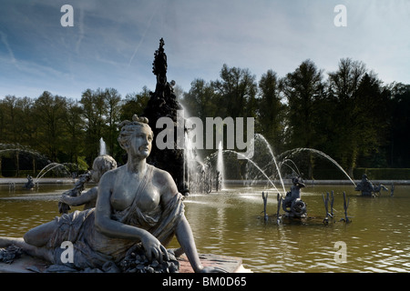 Fountain in front of Herrenchiemsee Castle, Herrenchiemsee, Chiemsee, Chiemgau, Bavaria, Germany, Europe - Stock Photo
