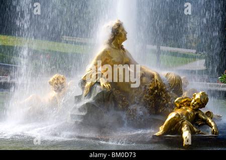 Fountain in Linderhof castle, Ettal, near Oberammergau, Bavaria, Germany, Europe - Stock Photo