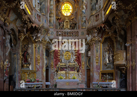 Interior view of the Asam church, Asamkirche, St. Johann Nepomuk was built in 1733–1746 by the Asam brothers Asam, - Stock Photo