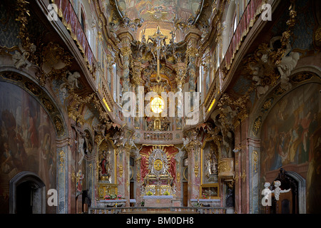 Interior view of the Asam church, Asamkirche, St. Johann Nepomuk was build in 1733–1746 by the Asam brothers Asam, - Stock Photo