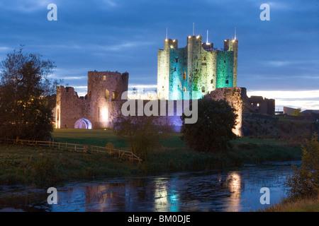 Trim Castle at Dusk, Trim, County Meath, Ireland - Stock Photo