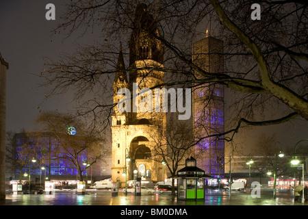 Kaiser Wilhelm Memorial Church, Breitscheidplatz, Berlin, Germany, Europe - Stock Photo