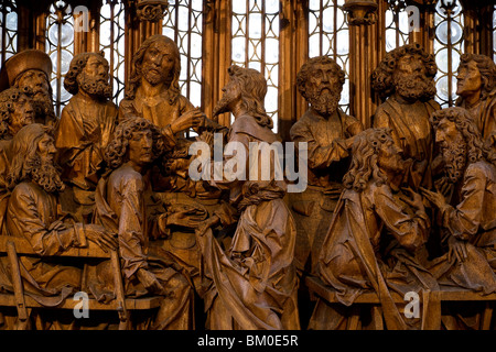 Holy Blood altar piece, detail of the Last Supper from woodcarver Tilman Riemenschneider in St. Jakob's church in - Stock Photo