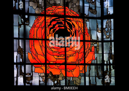 Stained glass window with rose, Pilgrimage church in Neviges, build in 1968 by architect Gottfried Boehm, Neviges, - Stock Photo