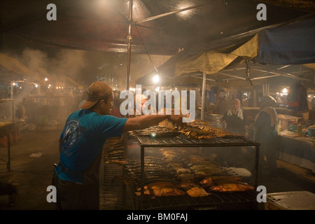 Grilled Fish at NIght Market, Pasar Malam Night Market, Bandar Seri Begawan, Brunei Darussalam, ASia - Stock Photo