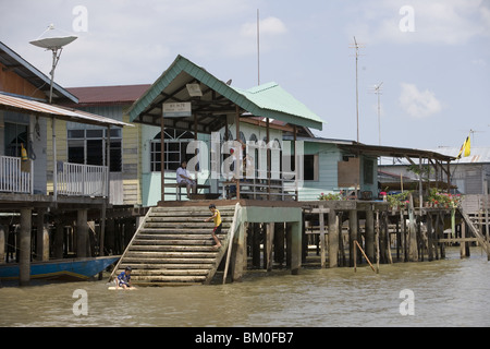 Water Village Stilt Houses, Kampong Ayer Water Village, Bandar Seri Begawan, Brunei Darussalam, Asia - Stock Photo