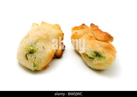 Fiori di zucca (fried zucchini flowers) on a white background - Stock Photo
