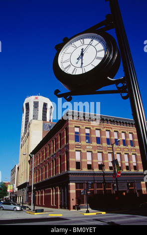 Low angle view of a clock, Old State Capitol Plaza, Springfield, Illinois, USA - Stock Photo