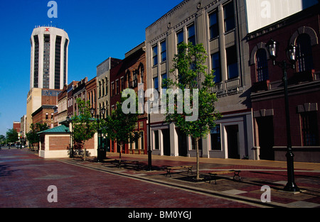 Buildings at a town square, Old State Capitol Plaza, Springfield, Illinois, USA - Stock Photo
