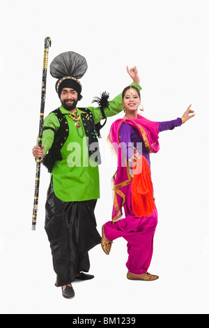 Bhangra the traditional folk dance from Punjab in North India - Stock Photo