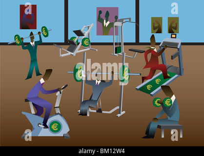 Businessmen exercising in a gym - Stock Photo