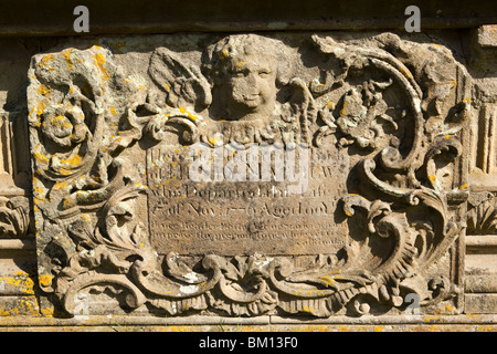 UK, England, Herefordshire, Kempley, St Mary's ancient churchyard, Henry Matthew 1776 carved stone grave - Stock Photo