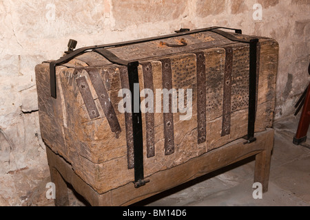 UK, England, Herefordshire, Kempley, St Mary's church, ancient iron banded oak chest - Stock Photo
