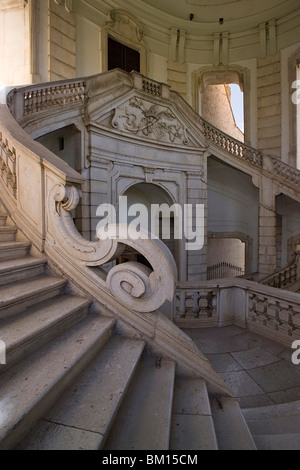 Baroque staircase, Certosa di San Lorenzo, Padula, Vallo di Diano, Salerno, Campania, Italy, Europe - Stock Photo