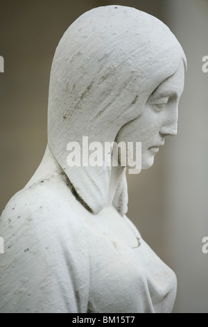 Statue Detail, Monumental Cemetery, Architect Carlo Maciachini, Milan, Lombardy, Italy, Europe - Stock Photo