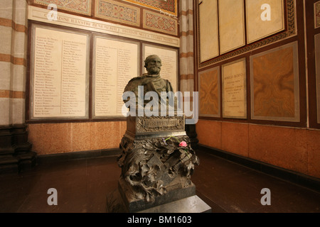 Giuseppe Verdi statue, the Famedio building, Monumental Cemetery, Architect Carlo Maciachini, Milan, Lombardy, Italy, - Stock Photo