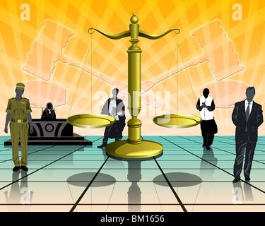 Illustrative representation of the legal system - Stock Photo