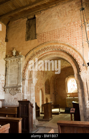 UK, England, Herefordshire, Kempley, St Mary's ancient church Norman chancel arch and medieval wall paintings - Stock Photo