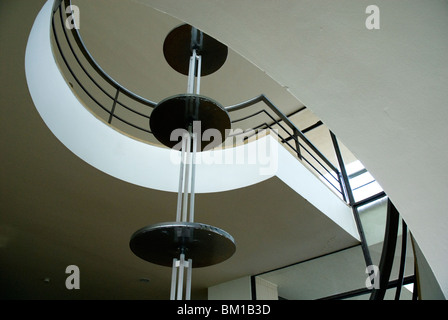 The modernist spiral staircase at the Art Deco De La Warr Pavilion at Bexhill on Sea East Sussex - Stock Photo