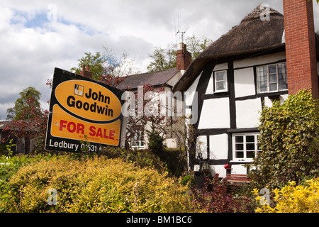 UK, England, Herefordshire, Much Marcle, idyllic half timbered thatched cottage for sale in rural village - Stock Photo