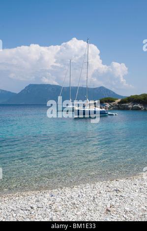 Sailing boats, Meganisi, Ionian Islands, Greek Islands, Greece, Europe - Stock Photo