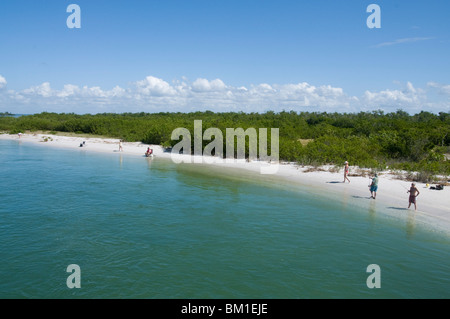 Water dividing Captiva and Sanibel Island, Sanibel on right, Gulf Coast, Florida, United States of America, North - Stock Photo